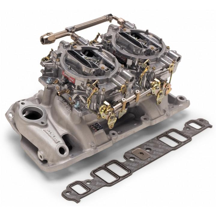 Edelbrock 2067 - Performer RPM Dual Quad Air-Gap Manifold and Carburetor Kits