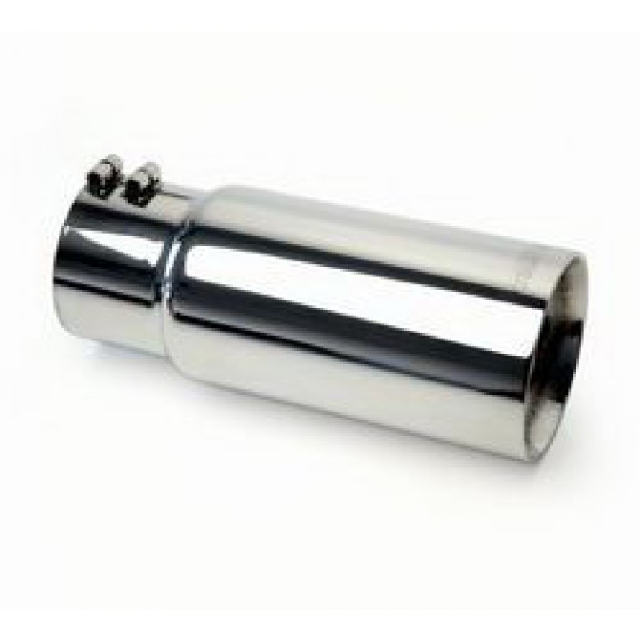 "Gibson 500546 - Polished Stainless Steel Exhaust Tip - 4"" Round Cut Double Wall - 2.5"" Inlet/4"" Outlet - 12"" Length"