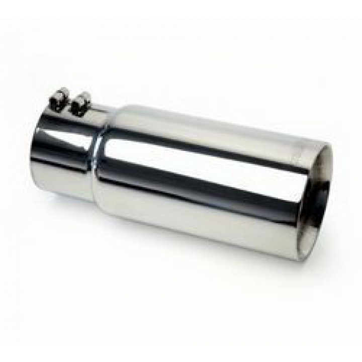 """Gibson 500546 - Polished Stainless Steel Exhaust Tip - 4"""" Round Cut Double Wall - 2.5"""" Inlet/4"""" Outlet - 12"""" Length"""