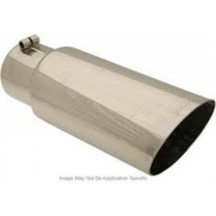 """Gibson 500397 - Polished Stainless Steel Exhaust Tip - 4"""" Round Angle Cut Tip - 3"""" Inlet/4"""" Outlet - 7.5"""" Length"""