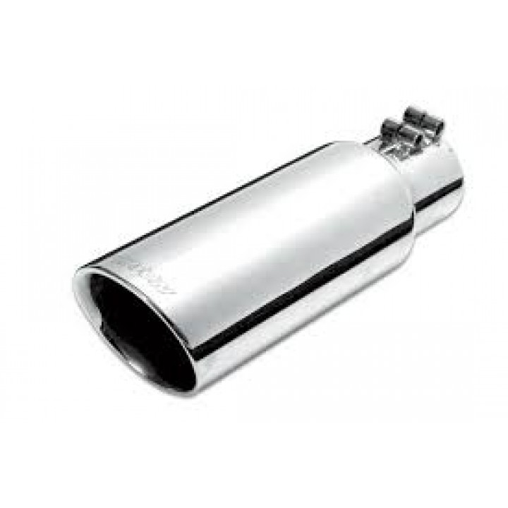 "Gibson 500417 - Polished Stainless Steel Exhaust Tip - 4"" Round Angle Cut Double Wall - 2.5"" Inlet/4"" Outlet - 8"" Length"