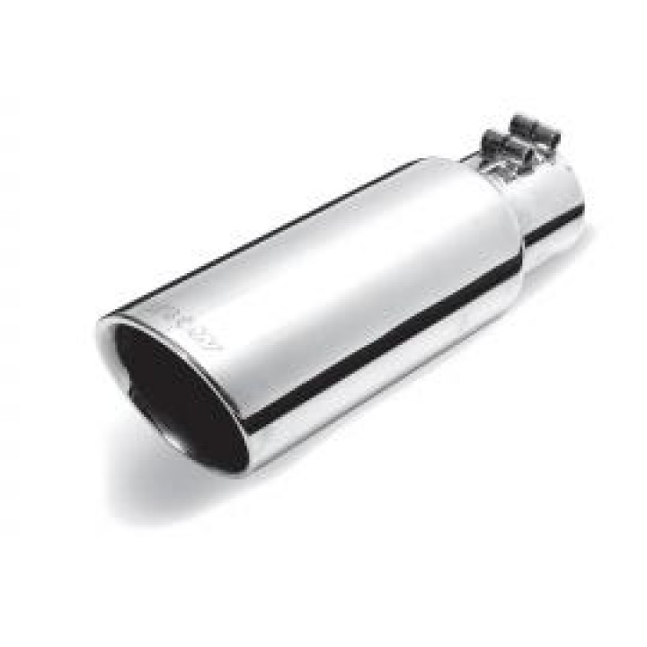 "Gibson 500421 - Polished Stainless Steel Exhaust Tip - 3"" Round Angle Cut Double Wall - 2.5"" Inlet/4"" Outlet - 8"" Length"