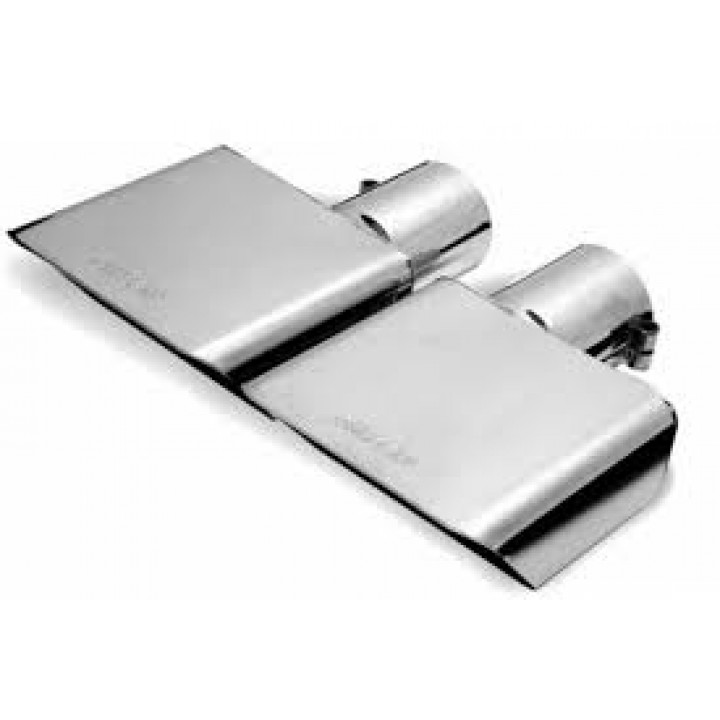 "Gibson 500432 - Polished Stainless Steel Exhaust Tip - 2.5"" Inlet/6"" x 2.75"" Outlet - 9.5"" Length"