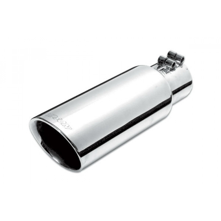 """Gibson 500433 - Polished Stainless Steel Exhaust Tip - 4"""" Round Angle Cut Double Wall - 2.25"""" Inlet/4"""" Outlet - 6.5"""" Length"""