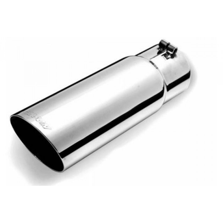 "Gibson 500437 - Polished Stainless Steel Exhaust Tip - 3.5"" Oval Angle Cut Double Wall - 2.375"" Inlet/3.5"" Outlet - 11"" Length"