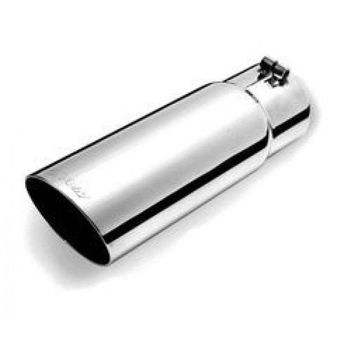 """Gibson 500641 - Polished Stainless Steel Exhaust Tip - 4"""" Rolled Slash Cut Tip - 3"""" Inlet/4"""" Outlet - 12"""" Length"""