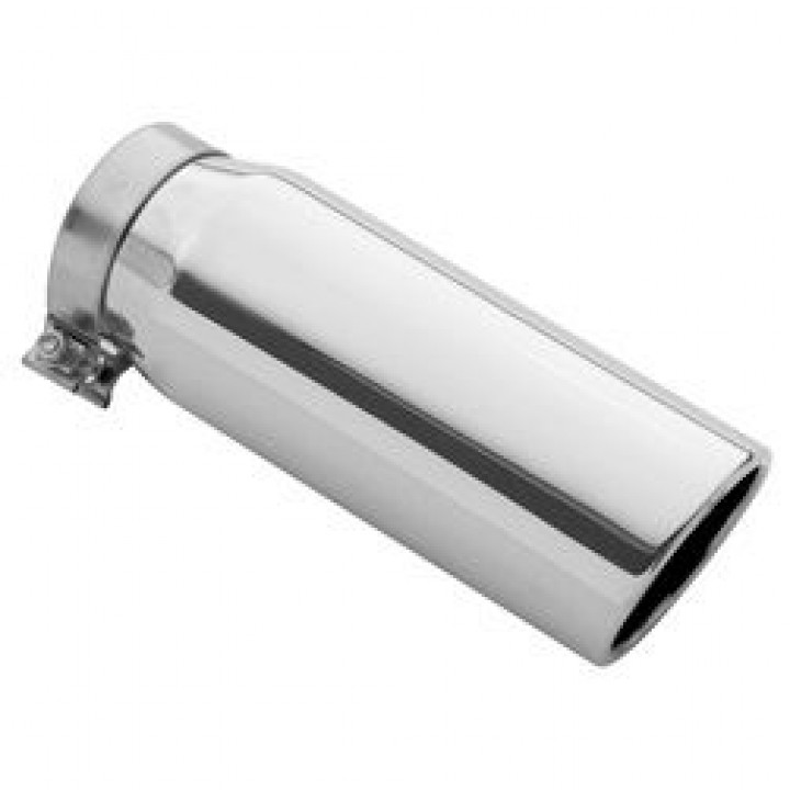 "Magnaflow 35184 - Universal Exhaust Tip - 4"" ID Inlet - 5"" Dia. Round - 13"" Long - 15 deg. Rolled Edge Angle Cut - Polished"