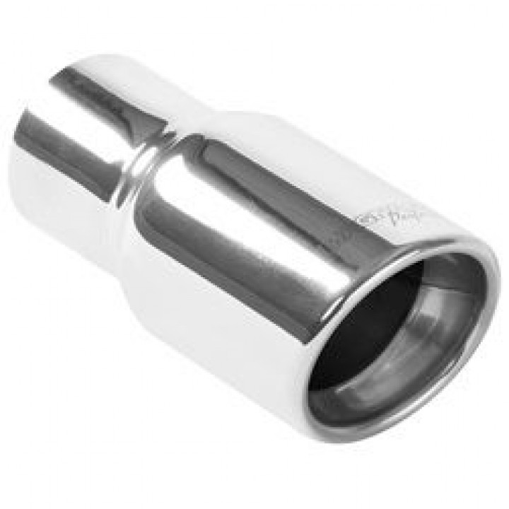 "Magnaflow 35203 - Universal Exhaust Tip - 2.25"" ID Inlet - 4"" Dia. Round - 8.25"" Long - Rolled Edge Angle Cut - Double Wall - Polished"