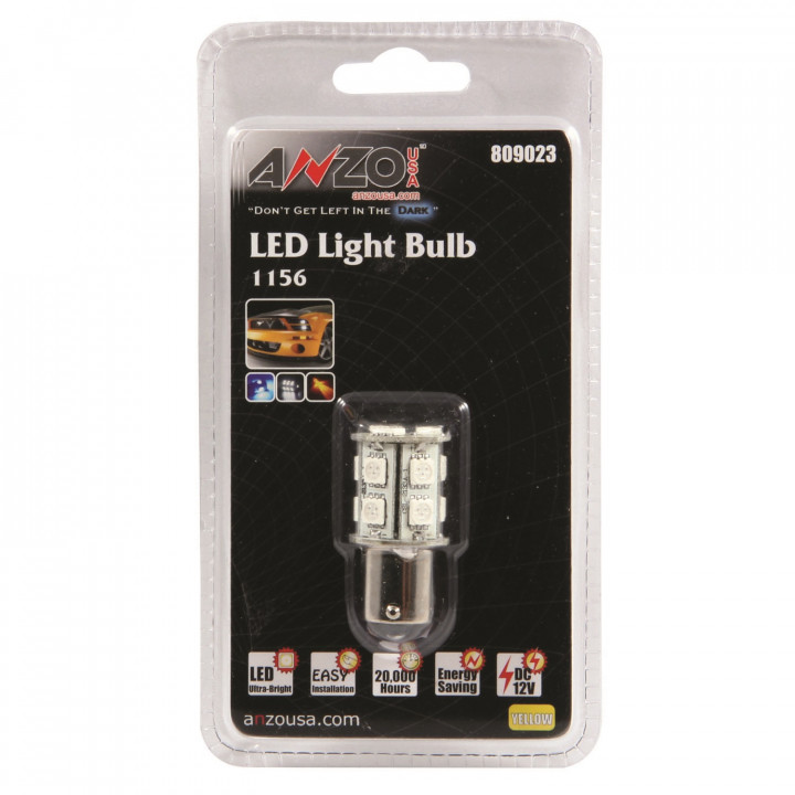 Anzo 809023 - LED Replacement Bulb - LED 1156 - Amber - 13 LEDs 1 3/4 in. Tall
