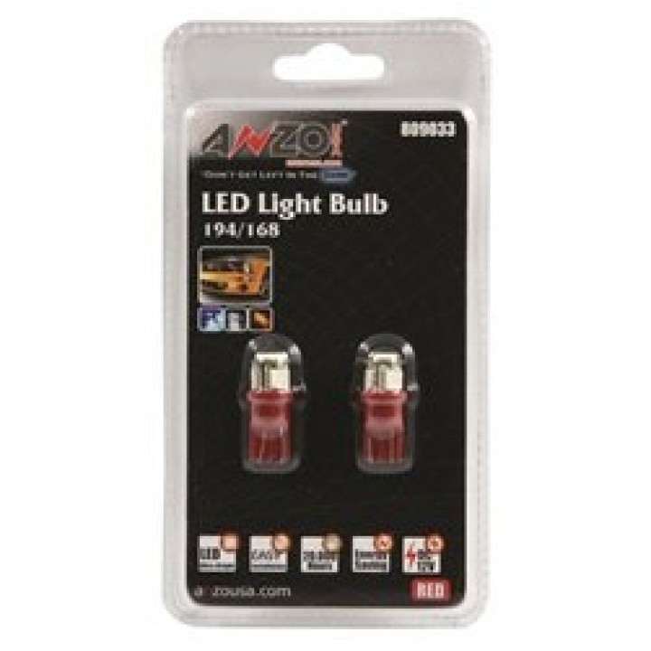 Anzo 809033 - LED Replacement Bulb - 194/168 - Red-4 LEDs