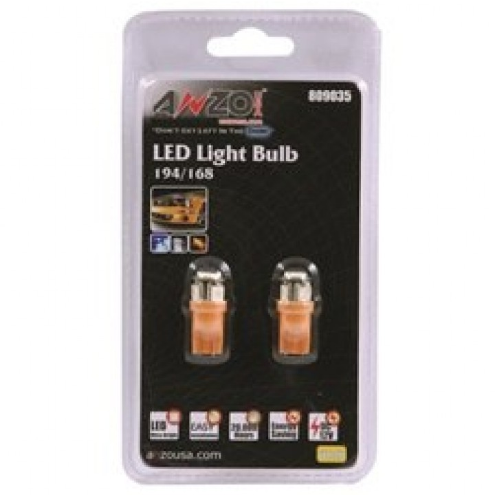 Anzo 809035 - LED Replacement Bulb - 194/168 - Amber - 4 LEDs