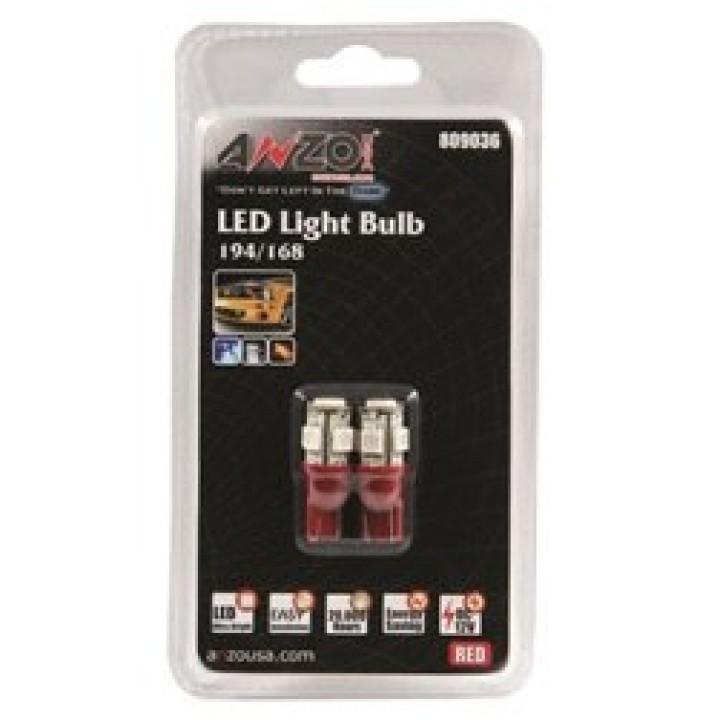 Anzo 809036 - LED Replacement Bulb - 194/168 - Red-5 LEDs