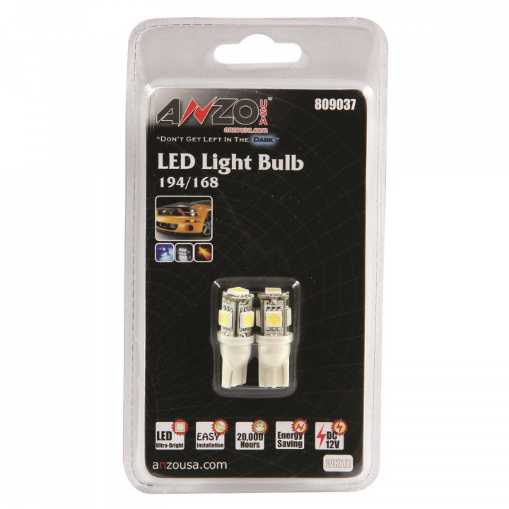 Anzo 809037 - LED Replacement Bulb - 194/168 White-5 LEDs