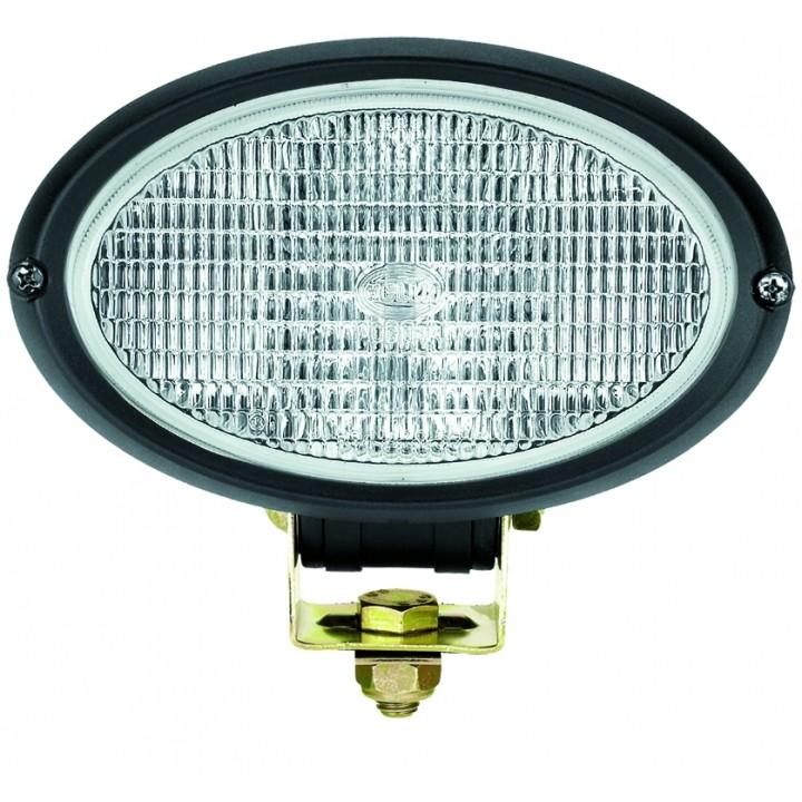 HELLA 996361271 - Oval 100 Single Beam Halogen Work Lamp - Clear Lens Close Range - Pedestal Mount - 12V (Black Housing)