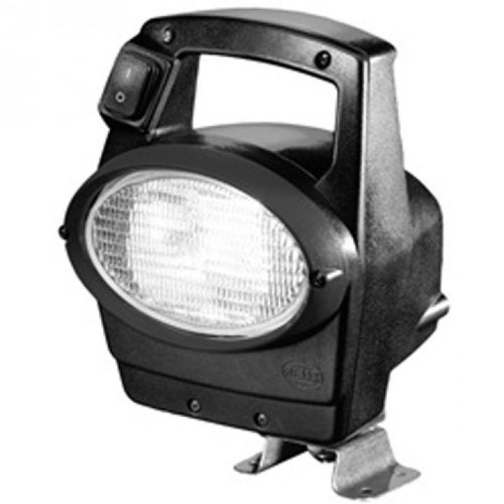 HELLA 996461501 - Oval 100 Halogen Work Lamp - Clear Lens - Close Range - 4 Point Mount - 12V (Black Housing)