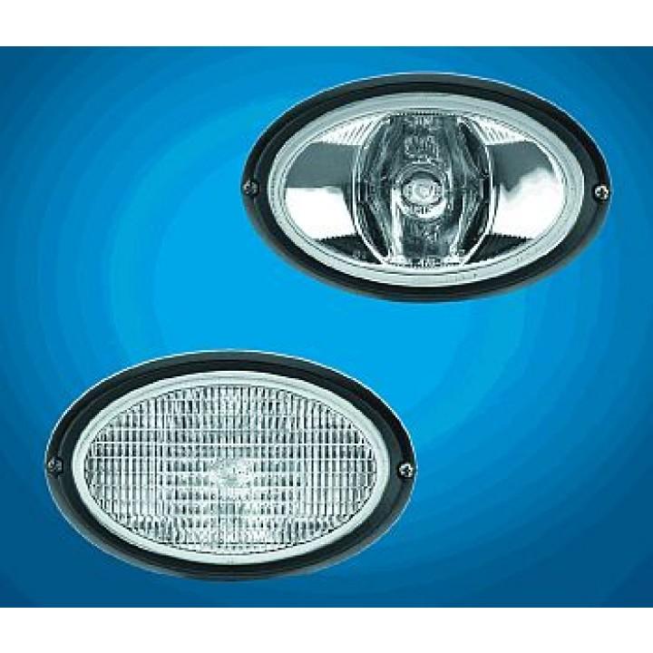HELLA 996461717 - Oval 100 Single Beam Halogen Work Lamp - Clear Lens - Long Range - Flush Mount - 12V (Black Housing)