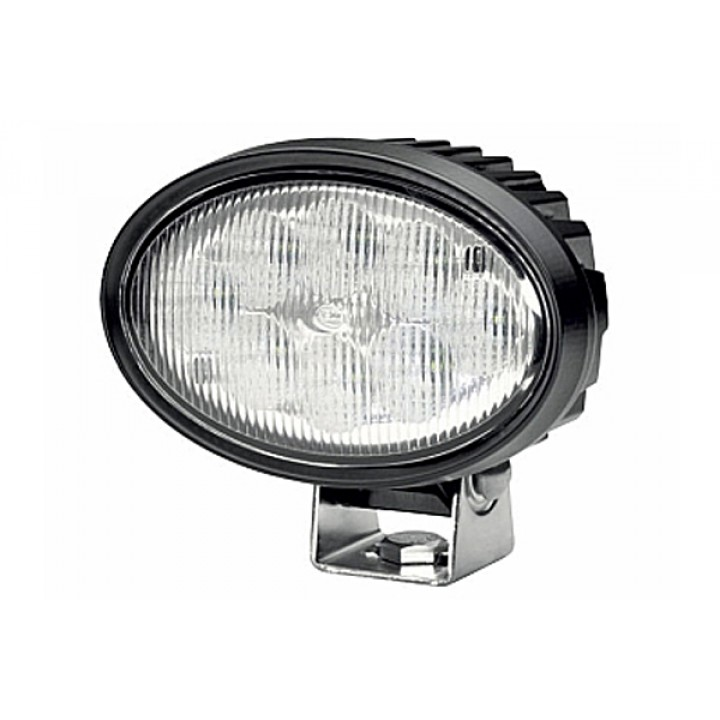 HELLA 996661011 - Oval 100 LED Work Lamp - Clear Lens Long Range - Pedestal Mount - Multivolt (Black Housing)
