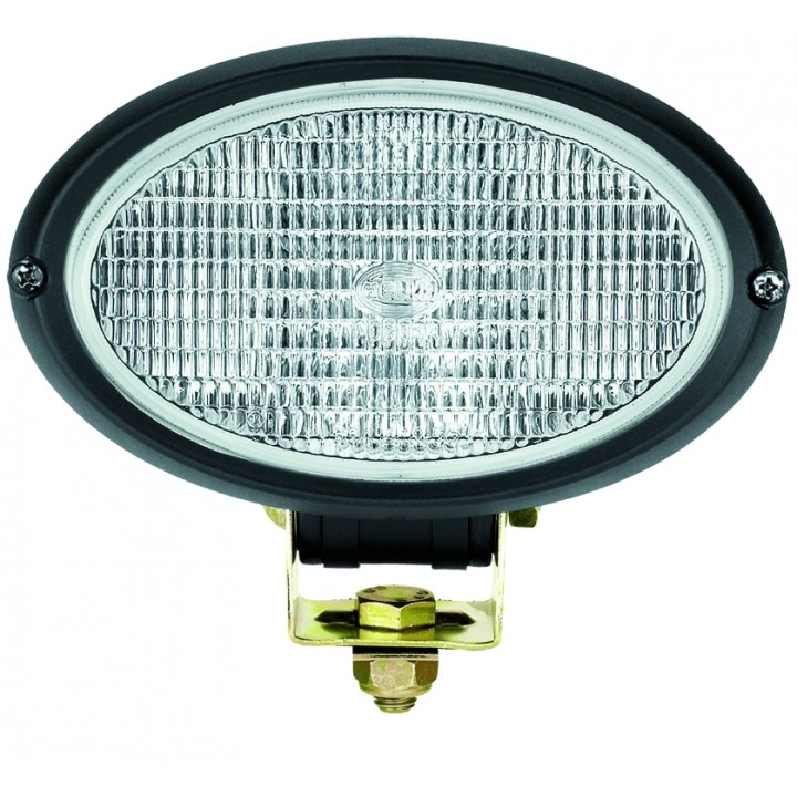 HELLA H15161007 - Oval 100 Halogen Work Lamp - Clear Lens - Close Range - 12V 55W (Black Housing)
