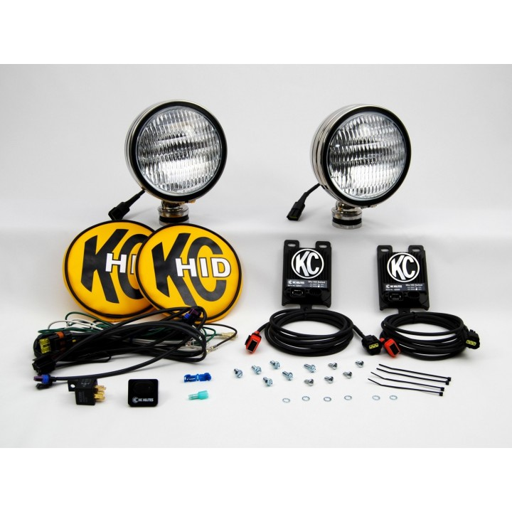 """KC HiLiTES 664 - HID - 6"""" Round Flood Stainless Steel 12v-50w (pair)"""