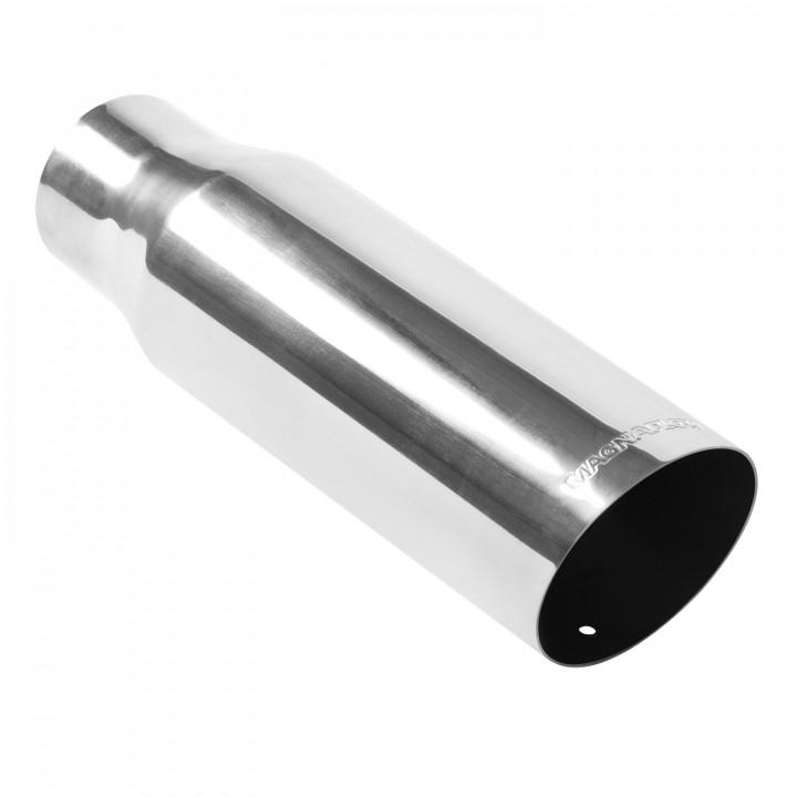 "Magnaflow 35104 - Universal Exhaust Tip - 3"" ID Inlet - 3.5"" Dia. Round - 12"" Long - 15 deg. Slash Cut - Polished"