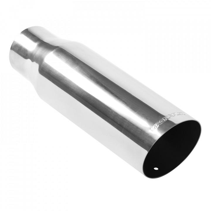 "Magnaflow 35107 - Universal Exhaust Tip - 3"" ID Inlet - 4"" Dia. Round - 12"" Long - 15 deg. Slash Cut - Polished"