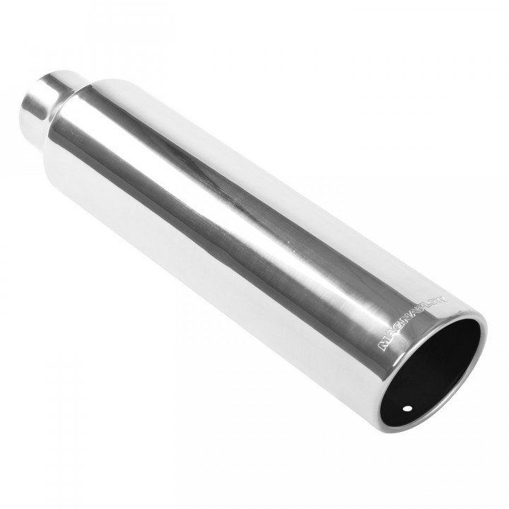 "Magnaflow 35111 - Universal Exhaust Tip - 2.5"" ID Inlet - 3"" Dia. Round - 18"" Long - 15 deg. Rolled Edge Angle Cut - Polished"