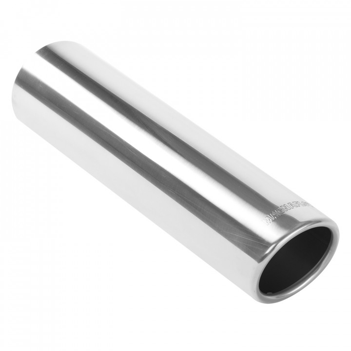 """Magnaflow 35113 - Universal Exhaust Tip - 3"""" ID Inlet - 3.5"""" Dia. Round - 12"""" Long - 15 deg. Rolled Edge Angle Cut - Polished"""