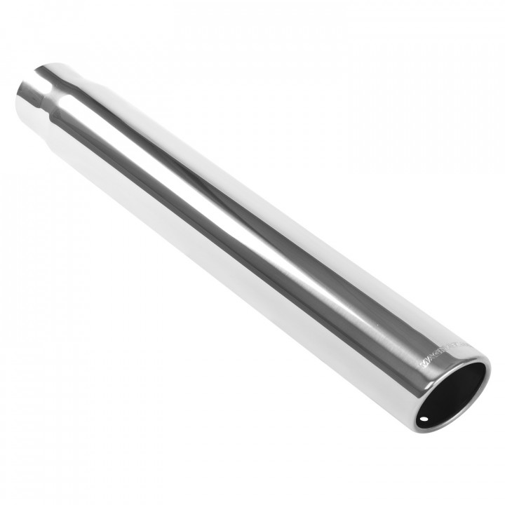 """Magnaflow 35115 - Universal Exhaust Tip - 2.5"""" ID Inlet - 3.5"""" Dia. Round - 22"""" Long - 15 deg. Rolled Edge Angle Cut - Polished"""