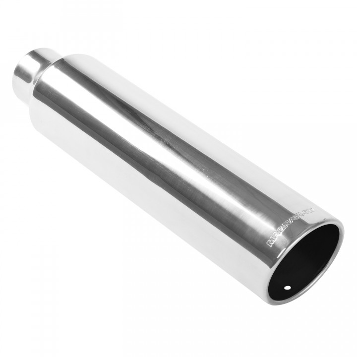 "Magnaflow 35117 - Universal Exhaust Tip - 2.5"" ID Inlet - 4"" Dia. Round - 18"" Long - 15 deg. Rolled Edge Angle Cut - Polished"