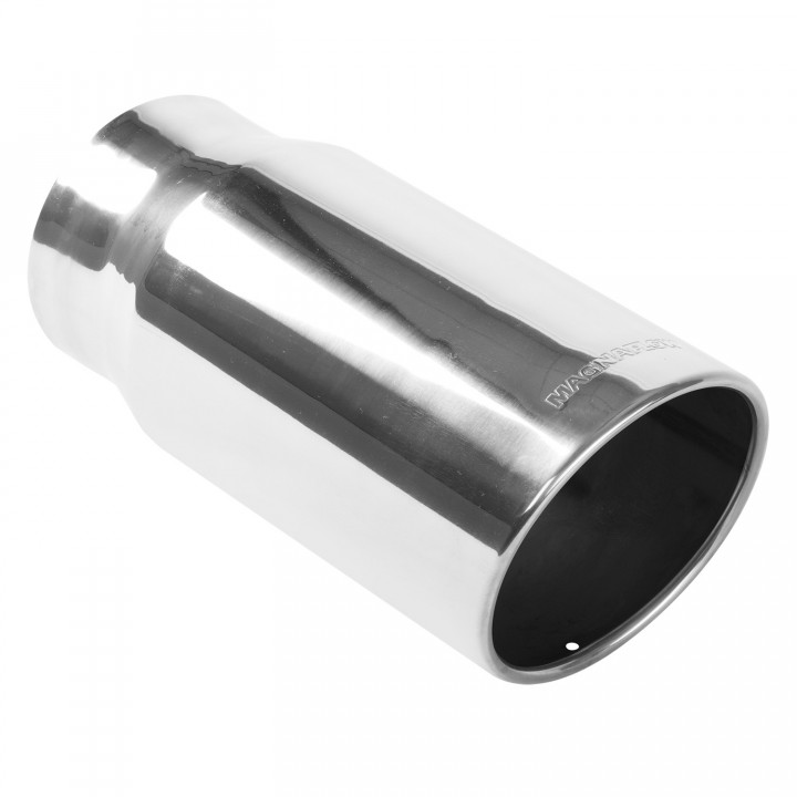 "Magnaflow 35120 - Universal Exhaust Tip - 4"" ID Inlet - 5"" Dia. Round - 13"" Long - 15 deg. Rolled Edge Angle Cut - Polished"
