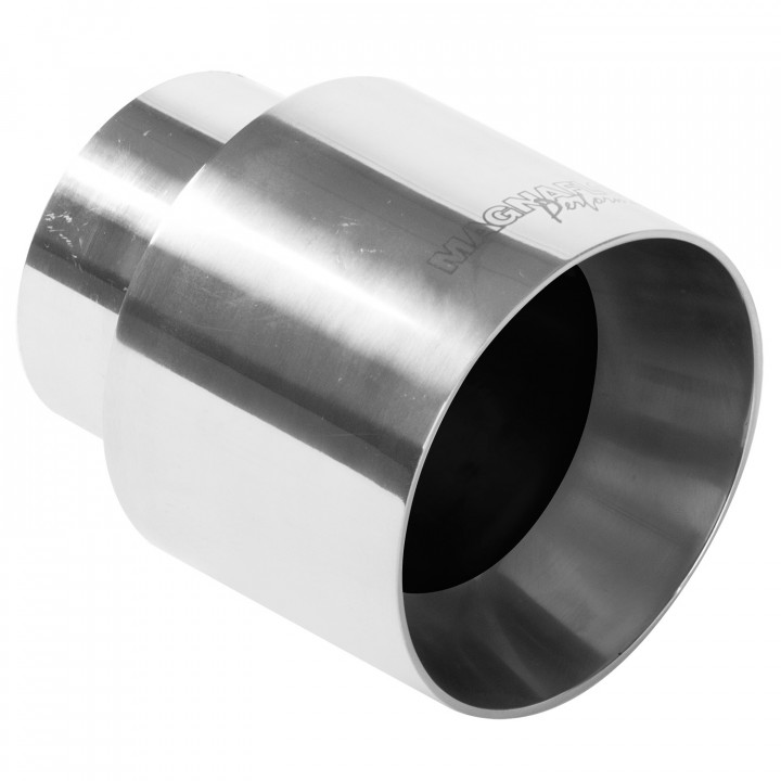 """Magnaflow 35124 - Universal Exhaust Tip - 2.25"""" ID Inlet - 4"""" Dia. Round - 4.5"""" Long - Straight Cut - Double Wall - Polished"""