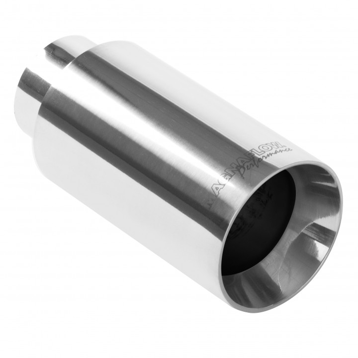 """Magnaflow 35125 - Universal Exhaust Tip - 2.25"""" ID Inlet - 3.5"""" Dia. Round - 4.5"""" Long - Straight Cut - Double Wall - Polished"""