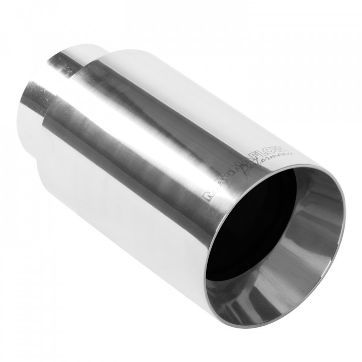 """Magnaflow 35126 - Universal Exhaust Tip - 2.25"""" ID Inlet - 4"""" Dia. Round - 7.5"""" Long - Straight Cut - Double Wall - Polished"""