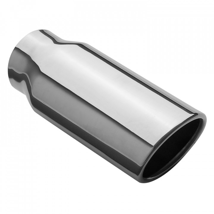 """Magnaflow 35129 - Universal Exhaust Tip - 2.25"""" ID Inlet - 2.5"""" x 3.25"""" Oval - 7.5"""" Long - Rolled Angle Cut - Single Wall - Polished"""