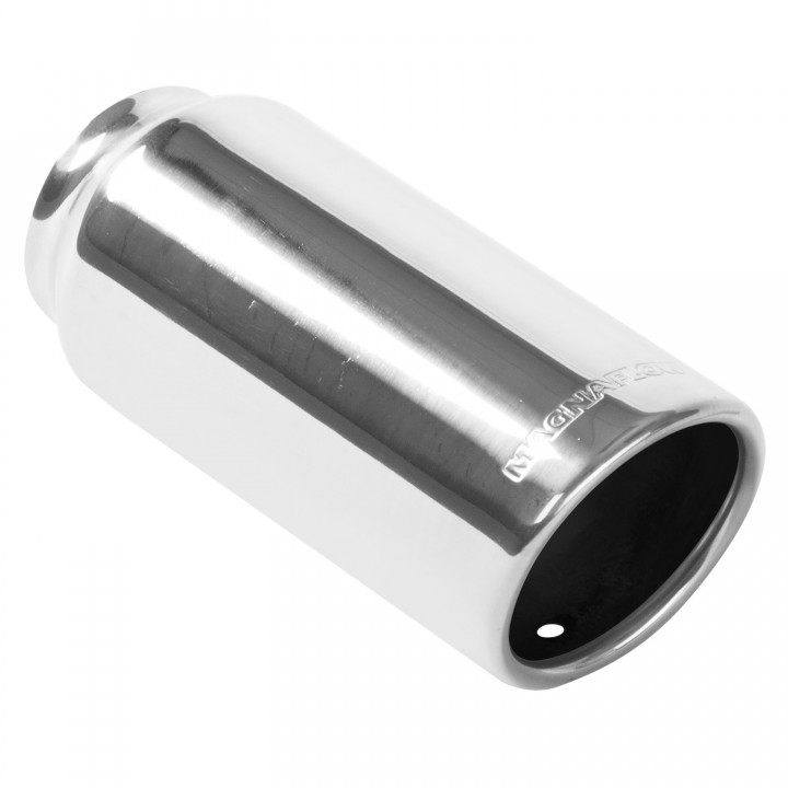 "Magnaflow 35131 - Universal Exhaust Tip - 2.25"" ID Inlet - 3"" Dia. Round - 7"" Long - Rolled Angle Cut - Single Wall - Polished"