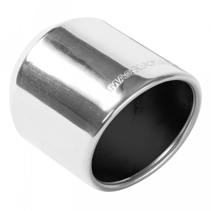 "Magnaflow 35136 - Universal Exhaust Tip - 2.25"" ID Inlet - 4"" Dia. Round - 5"" Long - Rolled Angle Cut - Single Wall - Polished"