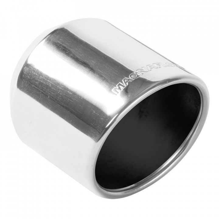 """Magnaflow 35136 - Universal Exhaust Tip - 2.25"""" ID Inlet - 4"""" Dia. Round - 5"""" Long - Rolled Angle Cut - Single Wall - Polished"""