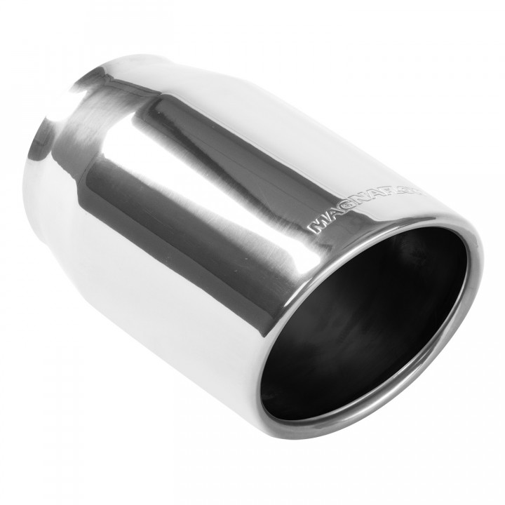 "Magnaflow 35148 - Universal Exhaust Tip - 4"" ID Inlet - 5"" Dia. Round - 8"" Long - 15 deg. Rolled Edge Angle Cut - Polished"