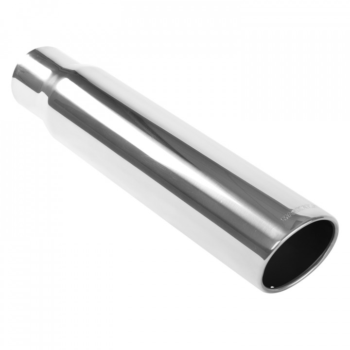 """Magnaflow 35149 - Universal Exhaust Tip - 4"""" ID Inlet - 5"""" Dia. Round - 24"""" Long - 15 deg. Rolled Edge Angle Cut - Polished"""