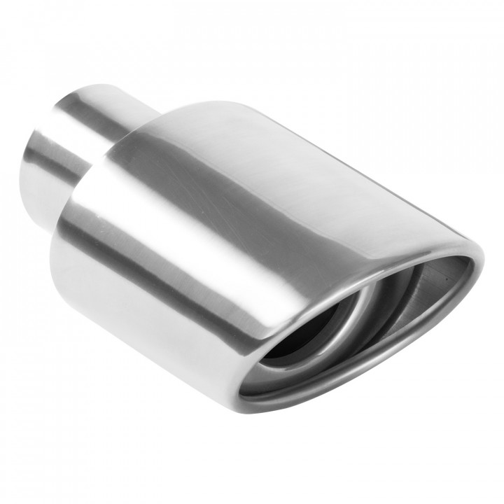 """Magnaflow 35158 - Universal Exhaust Tip - 2.25"""" ID Inlet - 3.5"""" x 4.5"""" Oval - 7"""" Long - Rolled Edge Angle Cut - Double Wall - Polished"""