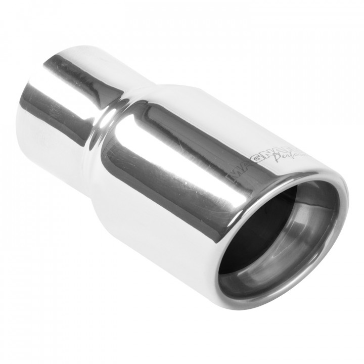 """Magnaflow 35163 - Universal Exhaust Tip - 2.25"""" ID Inlet - 3"""" Dia. Round - 6.25"""" Long - Rolled Edge Angle Cut - Double Wall - Polished"""