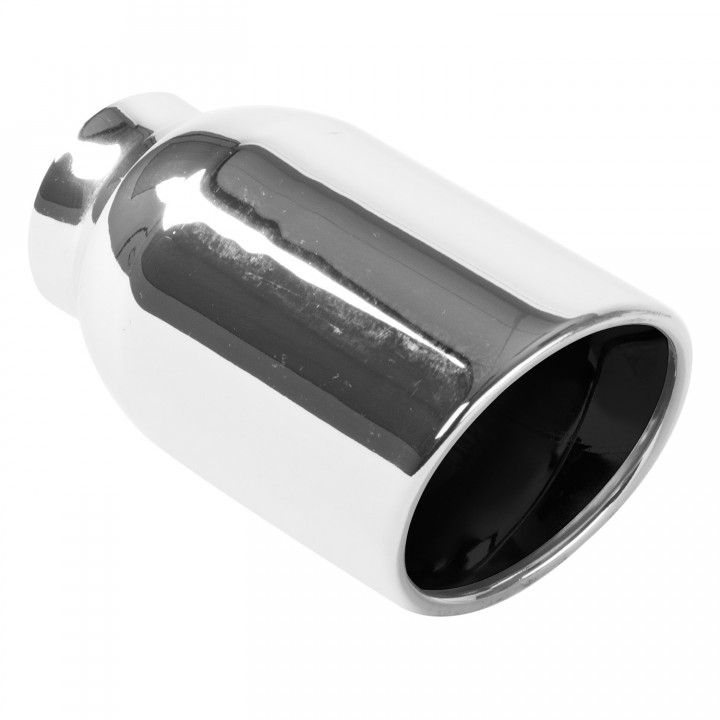 "Magnaflow 35164 - Universal Exhaust Tip - 2.25"" ID Inlet - 4"" Dia. Round - 8.25"" Long - Rolled Edge Angle Cut - Double Wall - Polished"