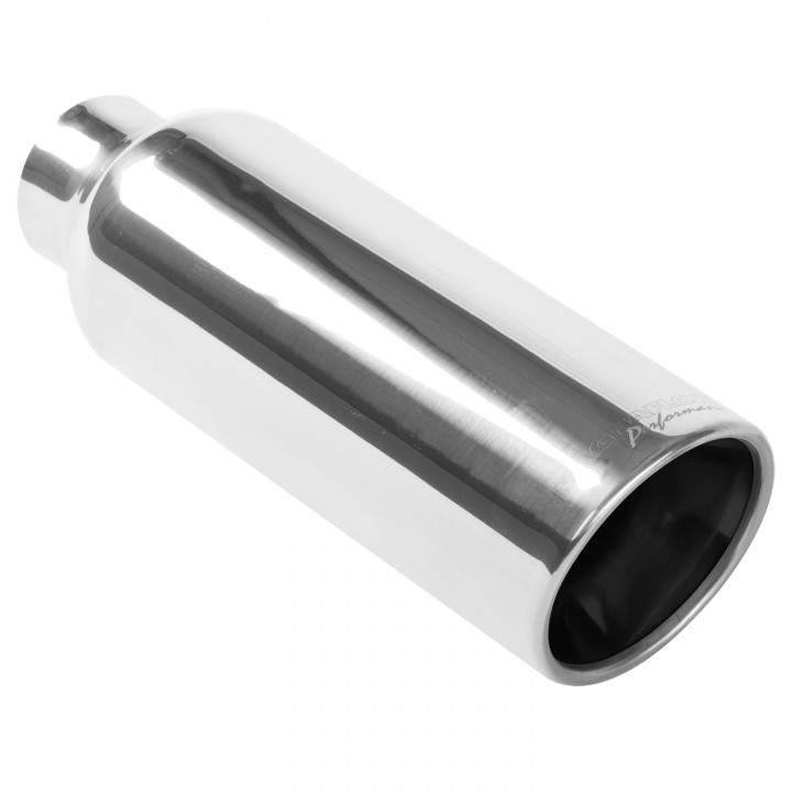 "Magnaflow 35173 - Universal Exhaust Tip - 2.25"" ID Inlet - 4"" Dia. Round - 12"" Long - Rolled Edge - Polished"