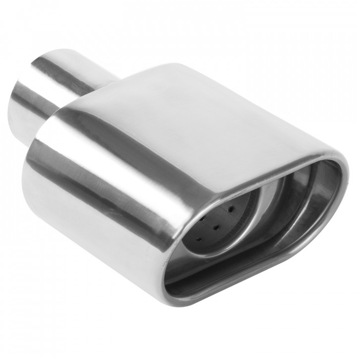 """Magnaflow 35175 - Universal Exhaust Tip - 2.25"""" ID Inlet - 5.25"""" x 2.75"""" Oblong - 7.25"""" Long - Rolled Edge Angle Cut - Double Wall - Polished"""