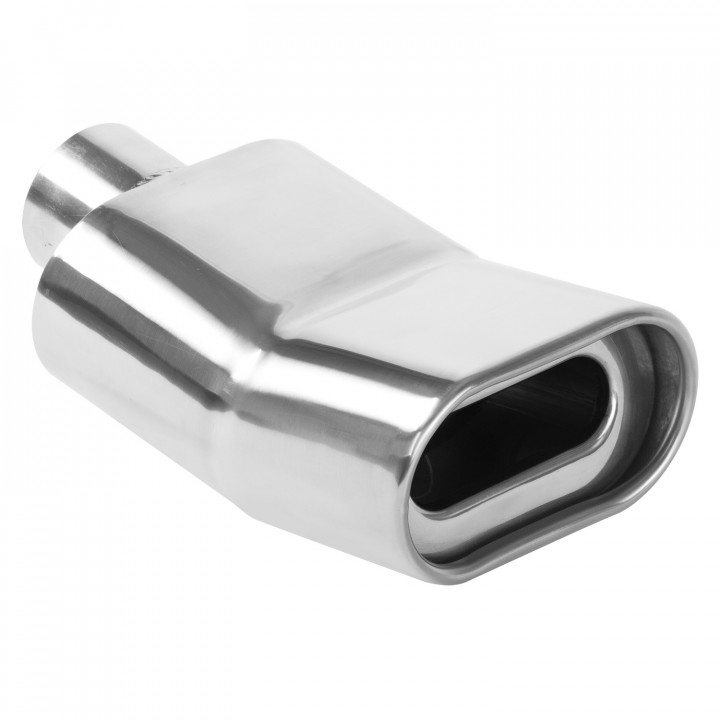 """Magnaflow 35176 - Universal Exhaust Tip - 2.25"""" ID Inlet - 5.25"""" x 2.75"""" Oblong - 9.5"""" Long - Rolled Edge - Double Wall - Polished"""
