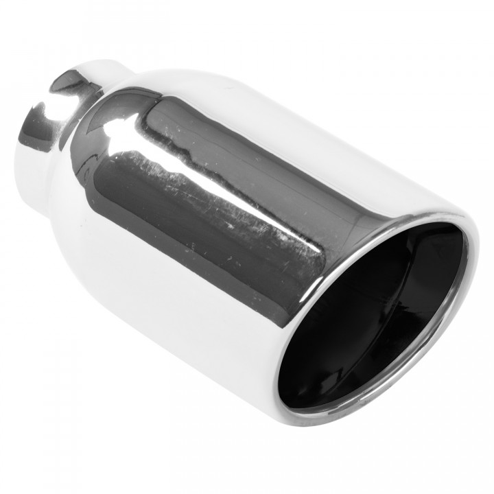"Magnaflow 35177 - Universal Exhaust Tip - 2.25"" ID Inlet - 4"" Dia. Round - 6.25"" Long - Rolled Edge Angle Cut - Double Wall - Polished"