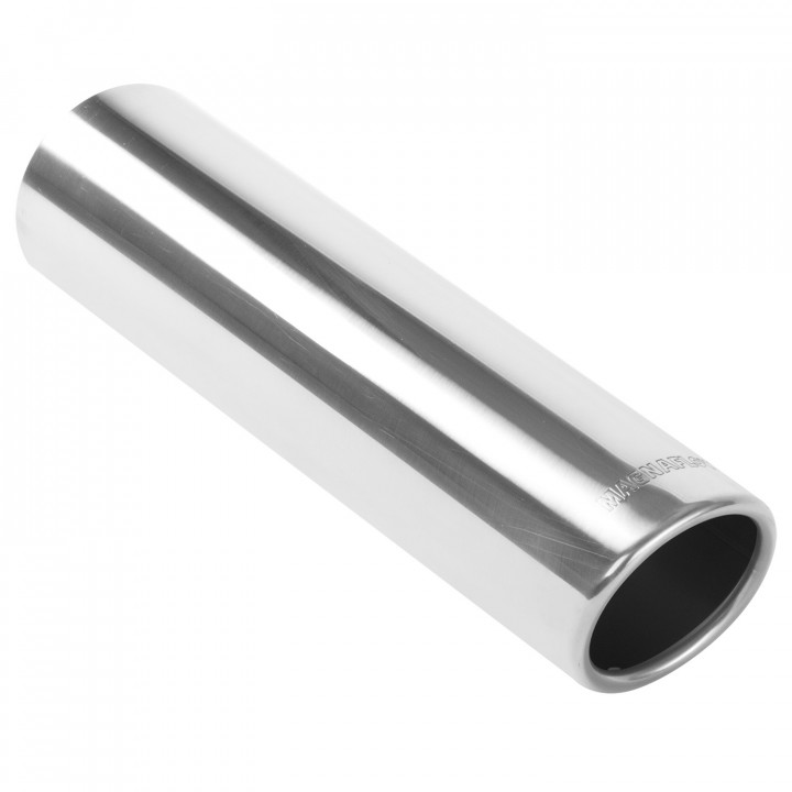 """Magnaflow 35204 - Universal Exhaust Tip - 2.5"""" OD Inlet - 3"""" Dia. Round - 12"""" Long - 15 deg. Rolled Edge Angle Cut - Polished"""