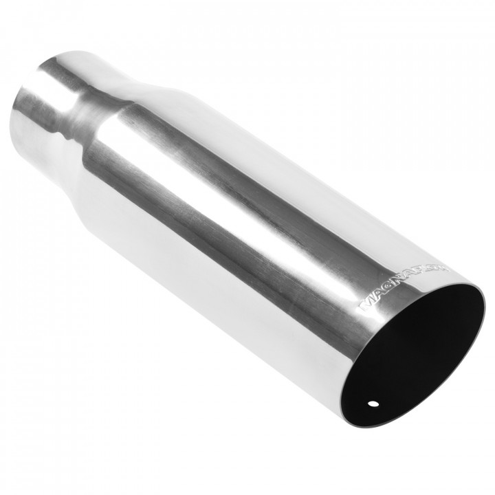 "Magnaflow 35205 - Universal Exhaust Tip - 2.5"" ID Inlet - 3.5"" Dia. Round - 12"" Long - 15 deg. Slash Cut - Polished"