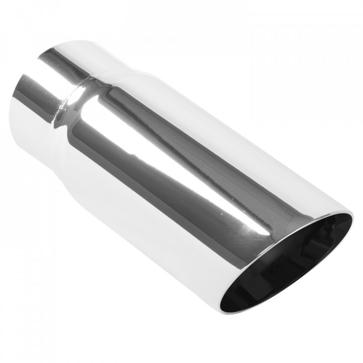 """Magnaflow 35206 - Universal Exhaust Tip - 3"""" ID Inlet - 3.5"""" Dia. Round - 9.5"""" Long - 30 deg. Slash Cut - Double Wall - Polished"""
