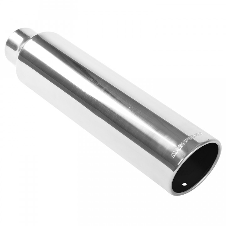 "Magnaflow 35217 - Universal Exhaust Tip - 2.25""ID/3.5""OD Inlet - 18"" Long - 15 deg. Rolled Edge Angle Cut - Single Wall - Weld-On - Polished"